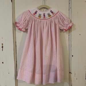 Size 2 Pink and White Smocked Bunny Dress